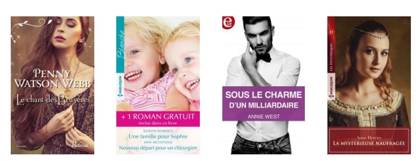 Quatre couvertures de roman tirées des éditions Harlequin.