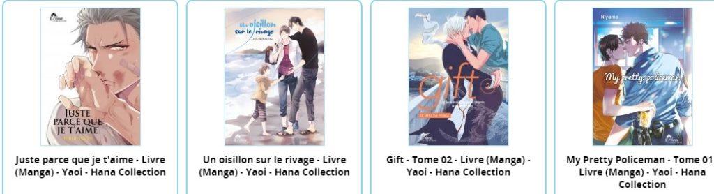 Quatre couvertures de manga yaoi tirées de l'éditeur IDP.