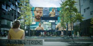 Image tirée de la série Osmosis d'Audrey FOuché, représentant plusieurs écrans de tailles différentes qui diffusent un message du fondateur d'Osmosis.