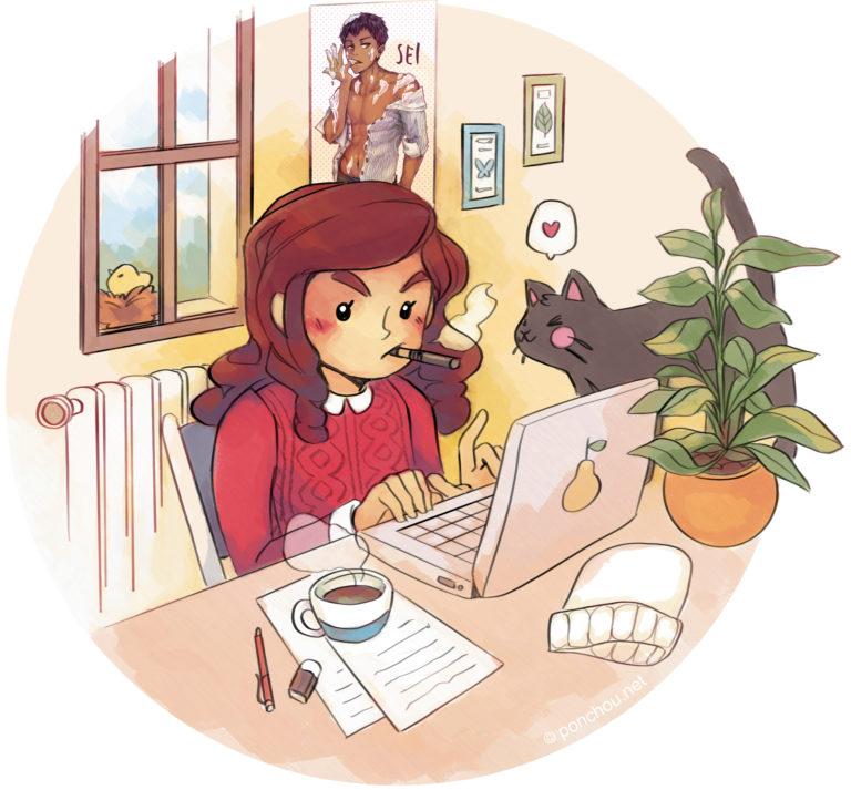 Ilhem H au travail, illustration de Ponchou.net